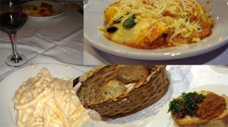 Vinho, fusilli quatro queijos, canelone de ricota, pão italiano com sardella...